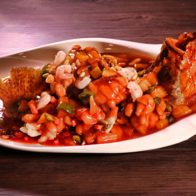 Fried Mandarin fish (pine nut style) with sweet and sour sauce